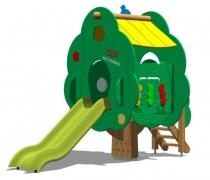 Детский игровой комплекс 100-Т1 (горка под крышей) «Волшебная Яблоня»