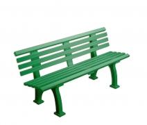 Спортивная скамья со спинкой Freiburg пластик зеленая 1,5м